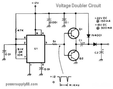 12v dc voltage doubler circuit