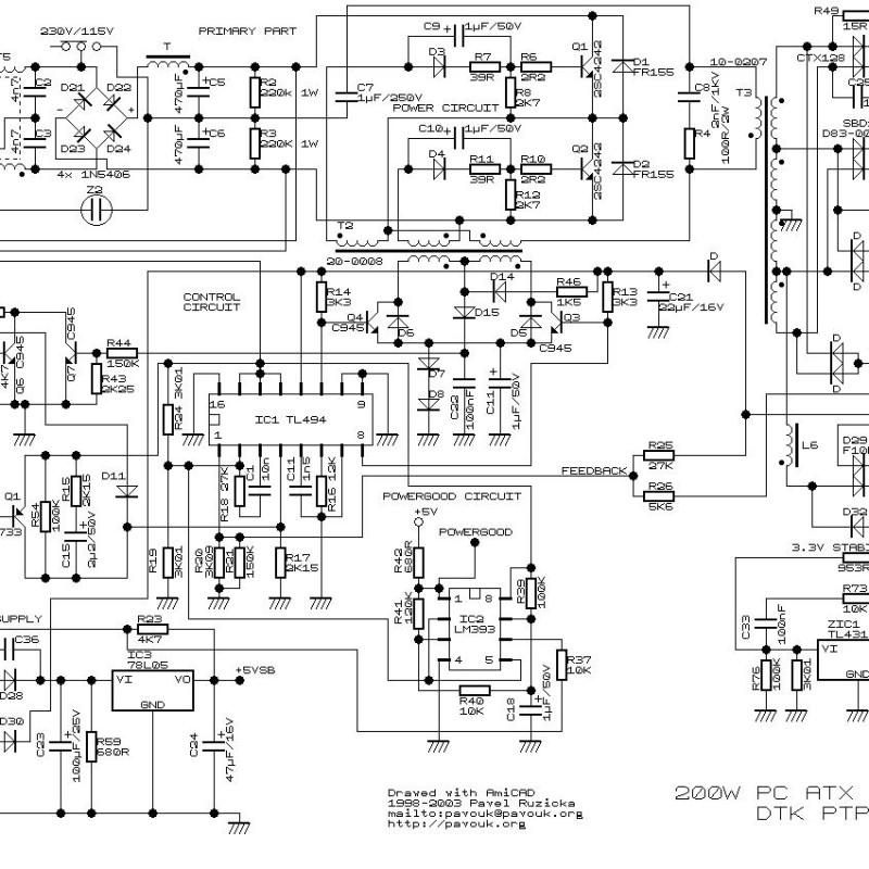 200W ATX Power Supply Circuit