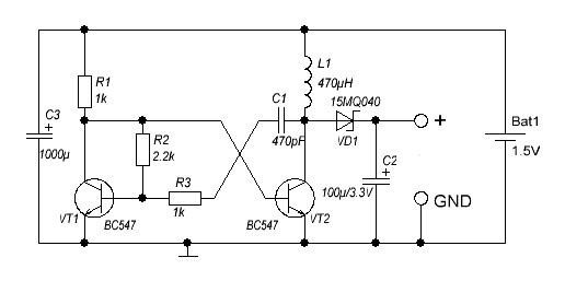 Voltage Converter From 1 5v To 3v Power Supply Circuits