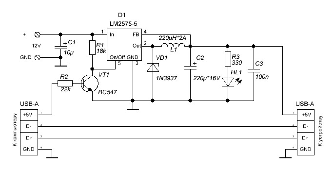 usb power supply with lm2575 power supply circuits rh powersupply33 com usb hub power supply schematic 5v usb power supply circuit