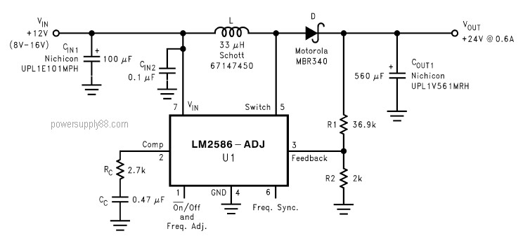 dc voltage doubler 12v to 24v LM2586 dc voltage doubler 12v to 24v lm2586 power supply circuits wiring diagram of 24v to 12v buck converter at aneh.co