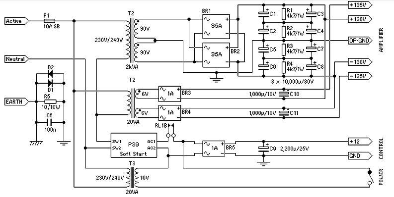 Power supply for 1500 watt power amplifier