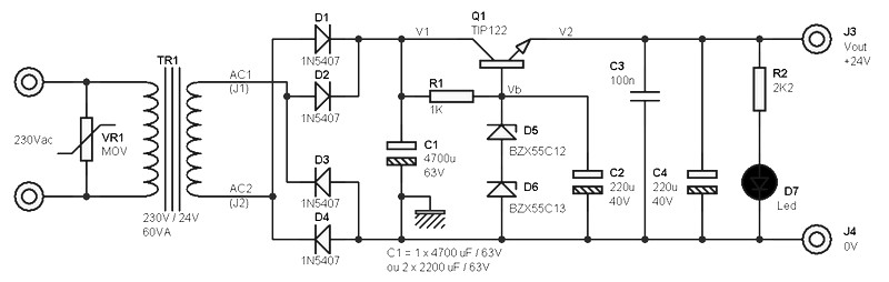 24 volts power supply at 2 amperes schematic Power Supply Circuits