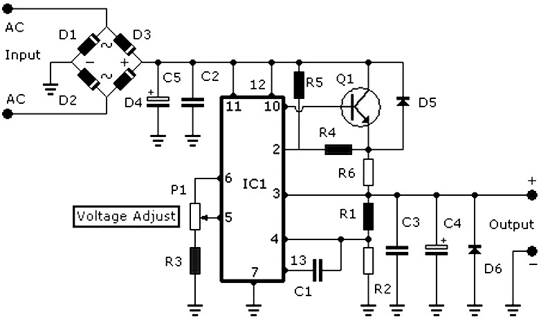 V Power Supplply A Circuit Diagram