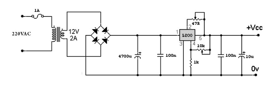 a simple variable power supply circuit with l200 - power supply ...  power supply circuits