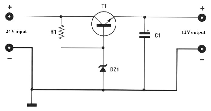 Voltage Reducer 24v To 12 V At 2 5 A Power Supply Circuits