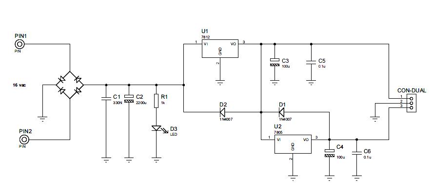 Power Supply Source 5 Vdc 12 Vdc Power Supply Circuits