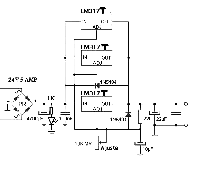 Power Supply 4 5 A With 3 Lm317 In Parallel on ups battery connection diagram