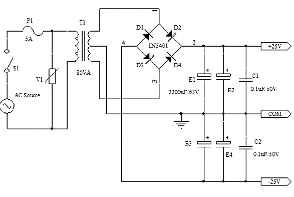 -25v symmetrical power supply