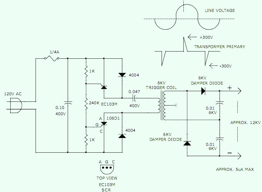 120 v to 12kv high voltage converter power supply circuits rh powersupply33 com High Voltage Generator 60Hz High Voltage Static Generator