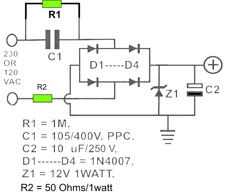 Convert Ac To Dc Circuit Diagram | 12v Dc Power Supply Without Transformer Power Supply Circuits