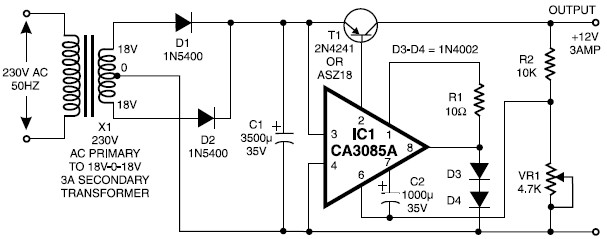 12V 3A Power Supply Scheme Diagram 12v 3a regulated power supply circuit  at bakdesigns.co