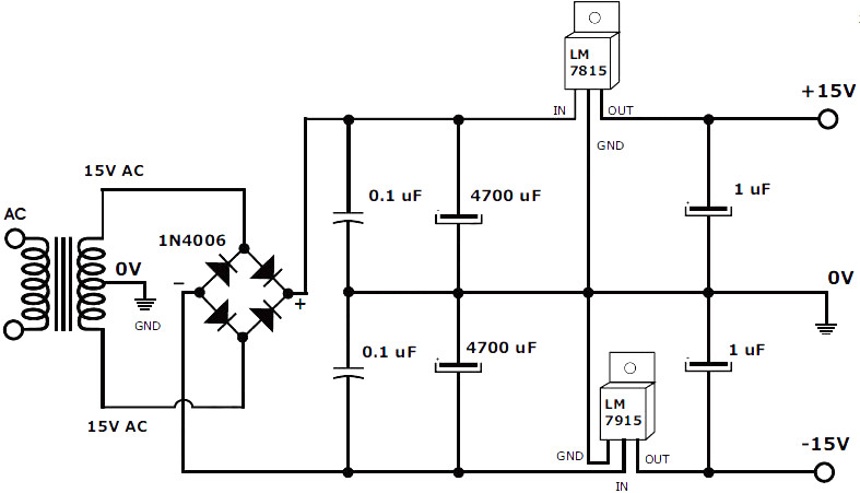 15v 1a symmetrical power supply circuit schematic