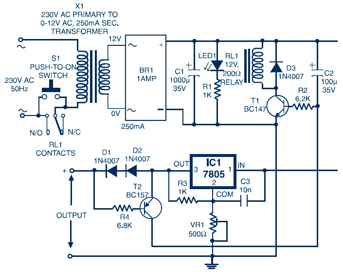 Auto Switch-Off Power Supply (Variable Output 3 7V to 8 7V)